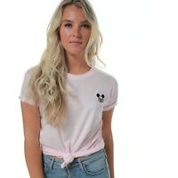 Disney Mickey Mouse Women's Clothing Ladies Mickey T-shirt Mickey Face Pale Pink