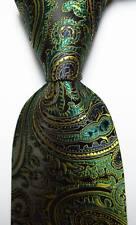 New Classic Paisley Black Green Gold JACQUARD WOVEN 100% Silk Men's Tie Necktie