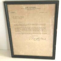 Vtg 1958 Framed Letter General MARK CLARK President CITADEL SC Military College