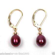 14K Gold Plated Drop Earrings 6-7mm Genuine Red Akoya Freshwater Pearl