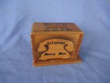 vintage art deco retro wooden telephone money box  phone