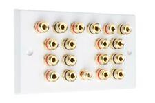 Speaker Wall Plate 9.1 18 Gold Binding Posts + 1 RCA AV Audio Non-solder