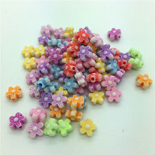 50pcs Mixed Flower Acrylic Perforation beads Children Kid DIY Jewelry Making #26