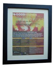GODS KITCHEN+Global Gathering+DJ+POSTER+AD+ORIGINAL 2001+FRAMED+FAST GLOBAL SHIP