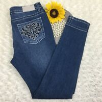 VGS Womens Skinny Jeans Size 4 Embroidered Pockets Stretch Blue Denim NWT dr1125