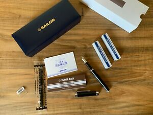 SAILOR 1911 Limited Black Fountain Pen MF Rhodium Nib, Case, Converters, Etc NEW