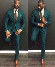 Custom Made Dark Green Men Wedding Suits Formal Groom Tuxedos Prom Suits 2 Piece