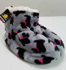 FUZZY BOOTIE SLIPPERS JOE BOXER SIZE 5.5-7.5 GRAY W/TERRIERS FREE SHIPPING
