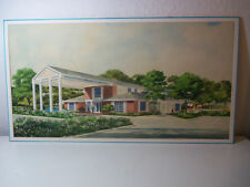 Vintage ORIGINAL ART Architectural Painting by BARBARA McCANN (1948-2012) 18x34""