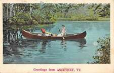 Ascutney Vermont Row Boat Waterfront Greeting Antique Postcard K62661