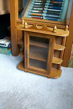 Vintage Wood and Glass Wall Curio Display Case Cabinet