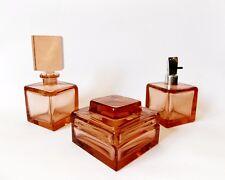 Antique Red Glass Vanity Dresser Set - Tray Powder Box Perfume Bottle Vintage