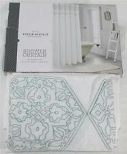 "Threshold Sheer Medallion Teal & White 72""x72"" Shower Curtain 100% Cotton"
