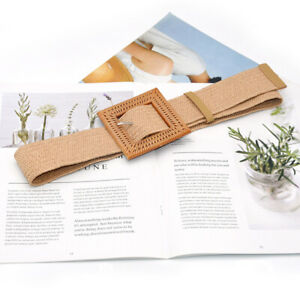 Elastic Woven Straw Waist Belts Square Buckle Adjustable Waistband Boho Belt HN