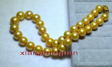 "AAAAA 18""11-12mm NATURAL REAL round South sea golden pearl necklace 14K gold"