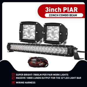 """22Inch OSRAM LED Light Bar Spot Flood Driving+3"""" Combo Kit Work Lights+DT Wiring"""
