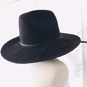 Dynafelt Western Hat Cowboy Fur Blend Hipster Felt Black Sz 7 1/8