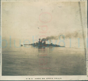 "1925 photo HMS Hood on Speed Trial British Empire cruise 3"""