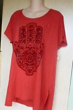 Lucky Brand Womens Linen Graphic Casual Top Red Medium NWT
