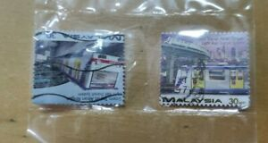 Rm1 sahaja 2 pc LRT Light rail transit used Malaysia stamp #2