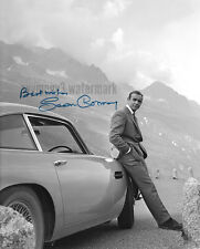 """Sean Connery leaning on Aston Martin DB5 8""""x10"""" Autographed Photo - RP"""