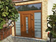 Aluminum door + 2 side panels + top glass - made to any size - Schueco