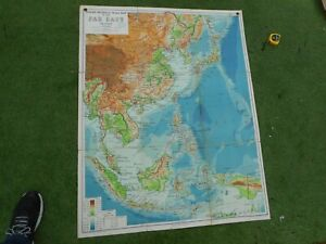 100% ORIGINAL LARGE FAR EAST CHINA ASIA SCHOOL MAP BY PHILLIPS C1950/S VGC