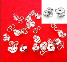 Back Stoppers Earrings Jewelry Findings 20Pcs Free Shipping 925 Sterling Silver