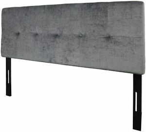 Tufted Linen Fabric Upholstered Queen Headboard (Gray(Queen))