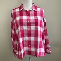 Sanctuary Plaid Print Button Down Long Sleeve Top Small Pink/White NWT