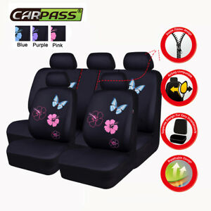 Universal Pink Car Seat Covers Butterfly Women Girls For Sedan Truck SUV Airbag