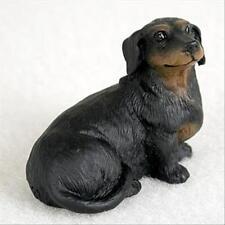 Dachshund Black Dog Tiny One Miniature Small Hand Painted Figurine