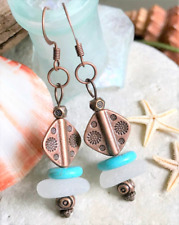 Women's BoHo SEA GLASS & Turquoise Drop Earrings Rustic Cooper French Hooks