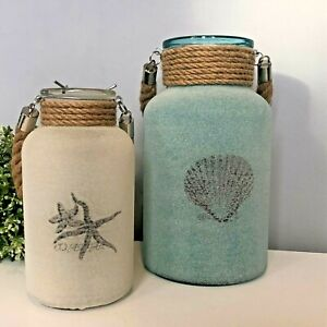 Starfish or Shell Sand Effect Candle Holder | Decorative Glass Jar Rope Handle