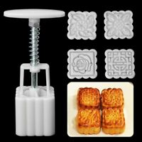 4x Square Flowers Stamps Moon Cake Molds Pastry Mooncake Kitchen Baking Tools K