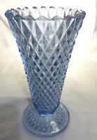"Indiana Glass Diamond Point Azure Blue 1966 Vintage Vase 8"" footed"