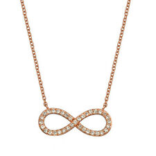 """Pink Rose Gold over 925 Sterling Silver CZ Infinity Charm Pendant + 18"""" Necklace"""