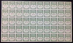 US Revenue BOB RE181 $20 Wines Cordials labels Smithsonian SHEET of 50 MNH 1941