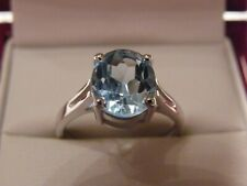 BRILLIANT LARGE STONE BLUE TOPAZ 925 SILVER RING SIZE 9 / R
