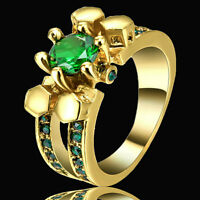 Size 6 Gold Filled Wedding Engagement Ring Green Crystal Cluster Cocktail Party
