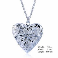 Necklace Chain Real 925 Sterling Silver SF Antique Heart Keepsake Locket Pendant