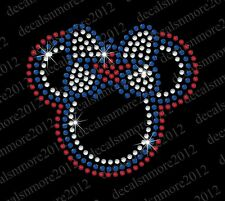 """Minnie Mouse - Star/Bow"" - Bling Iron-on Rhinestone Transfer"