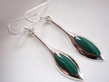 Green Malachite Spears of Silver 925 Sterling Silver Dangle Earrings