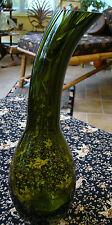"""Vtg 15"""" Mid-Century Modernist Olive Green Heavy Art Glass Gourd Vase Eames Era"""