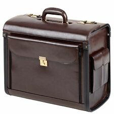Pilot Case Bag Briefcase  real genuine Leather Brown  Executive Travel Work  XL