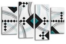 Moderno Astratto Canvas WALL ART PICTURE PRINT Bianco Nero Grigio Verde Acqua Multi Pannello