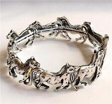 Silver Horse Horses Charm Bracelet Stretch Adjustable Equestrian Mustang Plated