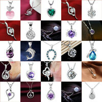 Fashion 925 Silver Crystal Heart Pendant Chain Necklace Women Charm Jewelry Gift