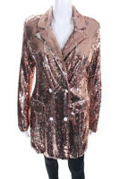 endless rose Womens Sequin Double Breasted Blazer Pink Size Medium