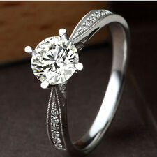 Size 4-9 Handmade Women's Wedding Band 1ct Engagement Cz 925 Silver Fashion Ring
